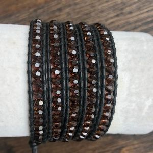 New Auth Chan Luu Brown Crystal Five Wrap Bracelet
